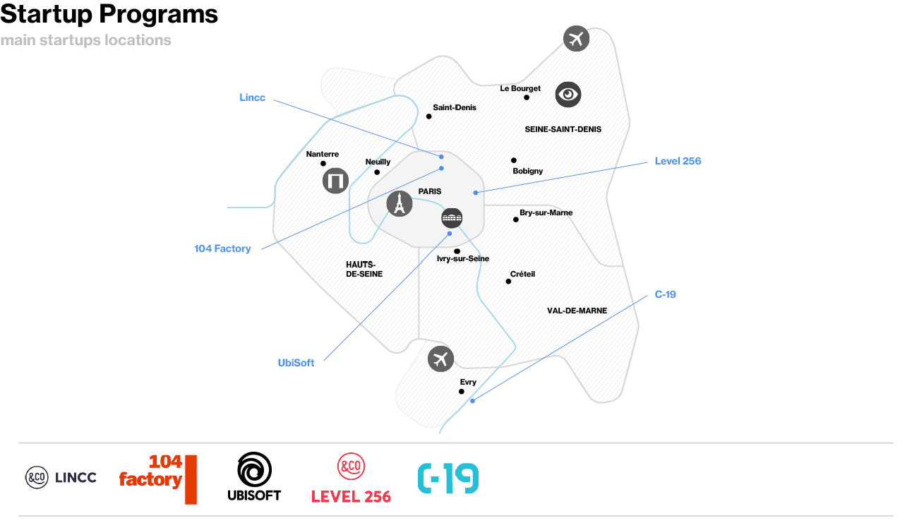 Gaming - Map of Startup Programs Specialized in Video Games in Paris Region