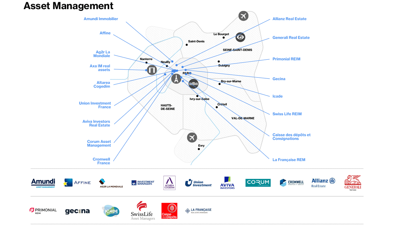 Real Estate - Map of Asset Management in Paris Region