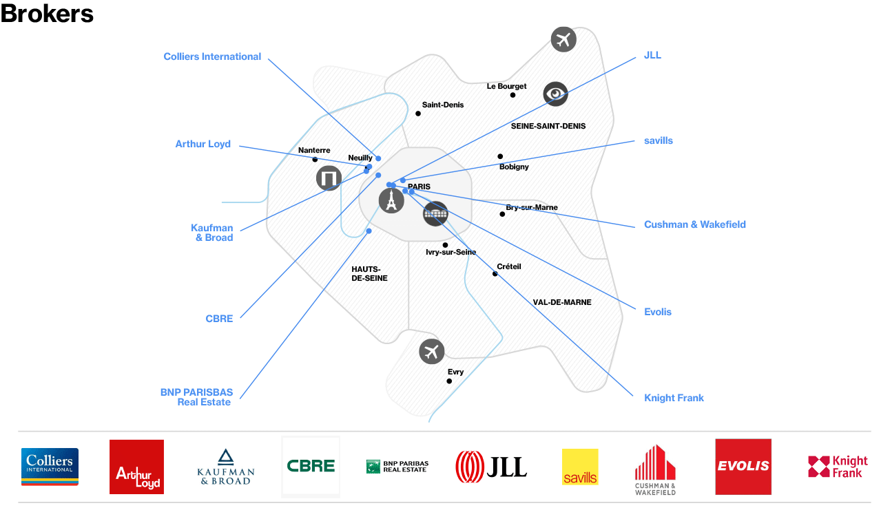 Real Estate - Map of Brokers in Paris Region